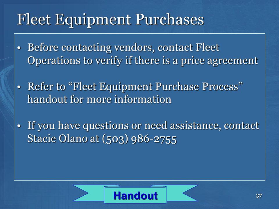 Fleet Equipment Purchases