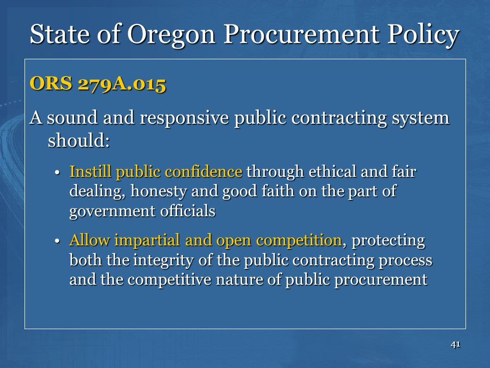State of Oregon Procurement Policy
