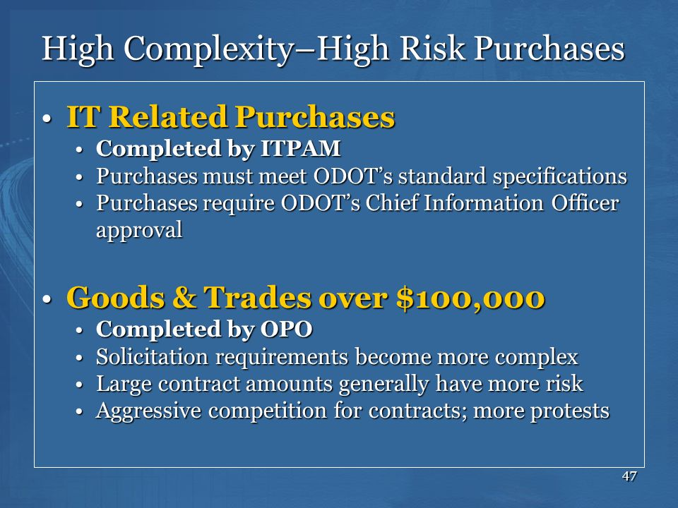 High Complexity–High Risk Purchases