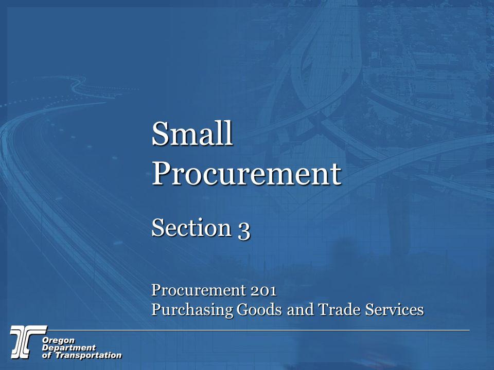 Small Procurement Section 3 Procurement 201