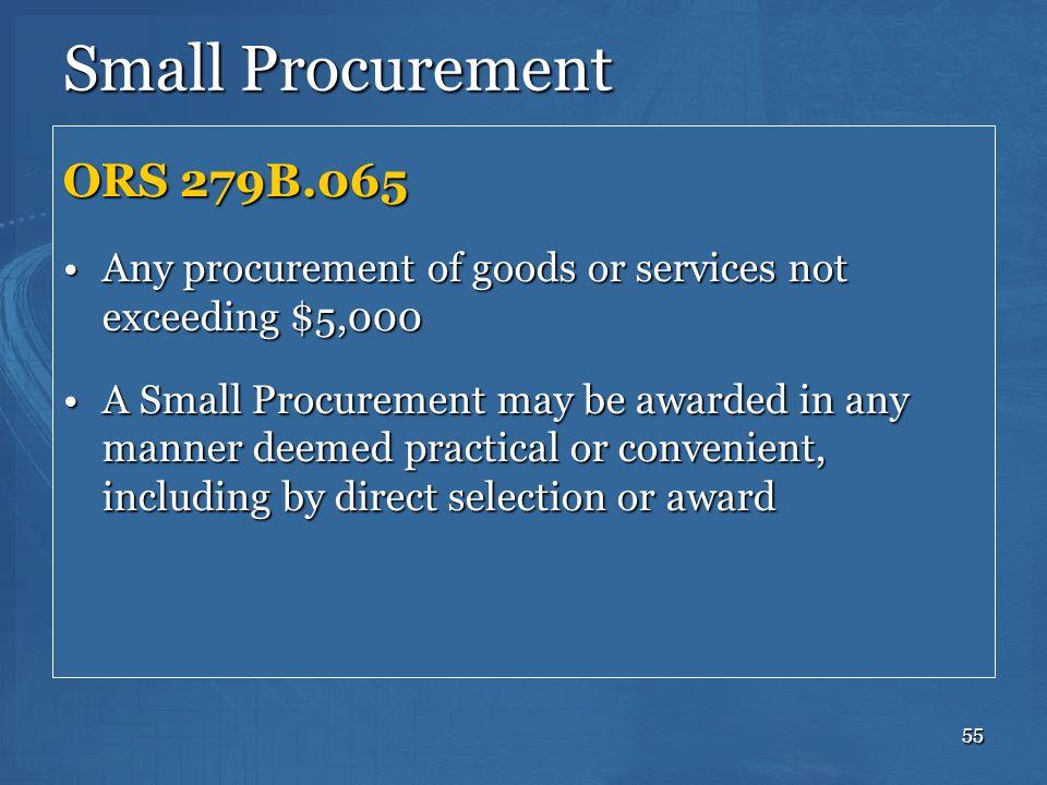Small Procurement ORS 279B.065