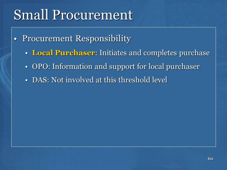 Small Procurement Procurement Responsibility