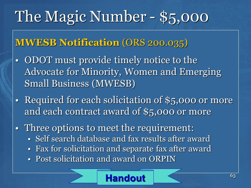 The Magic Number - $5,000 MWESB Notification (ORS 200.035)