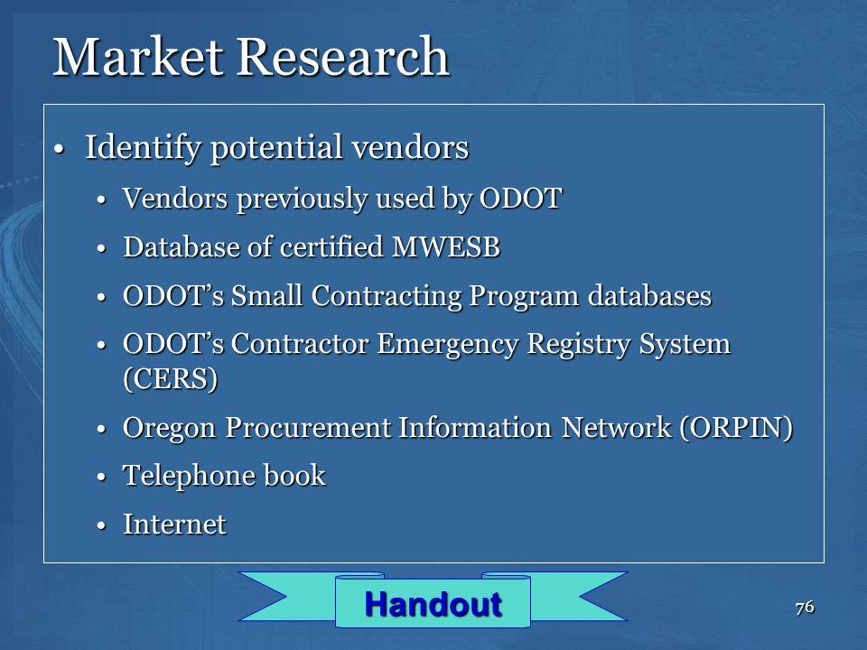 Market Research Identify potential vendors Handout