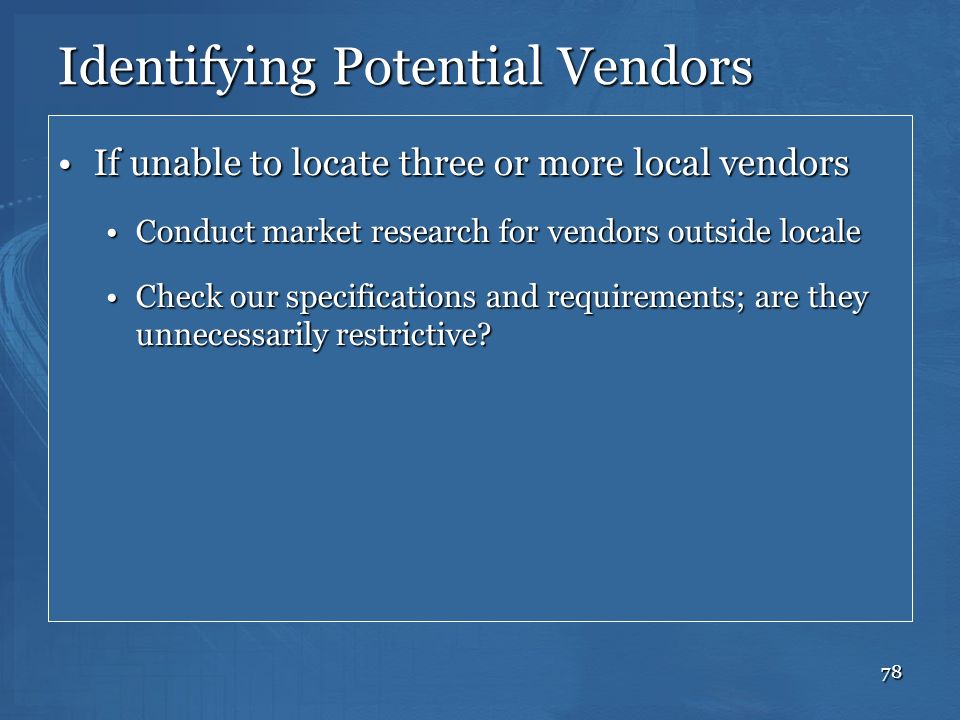 Identifying Potential Vendors
