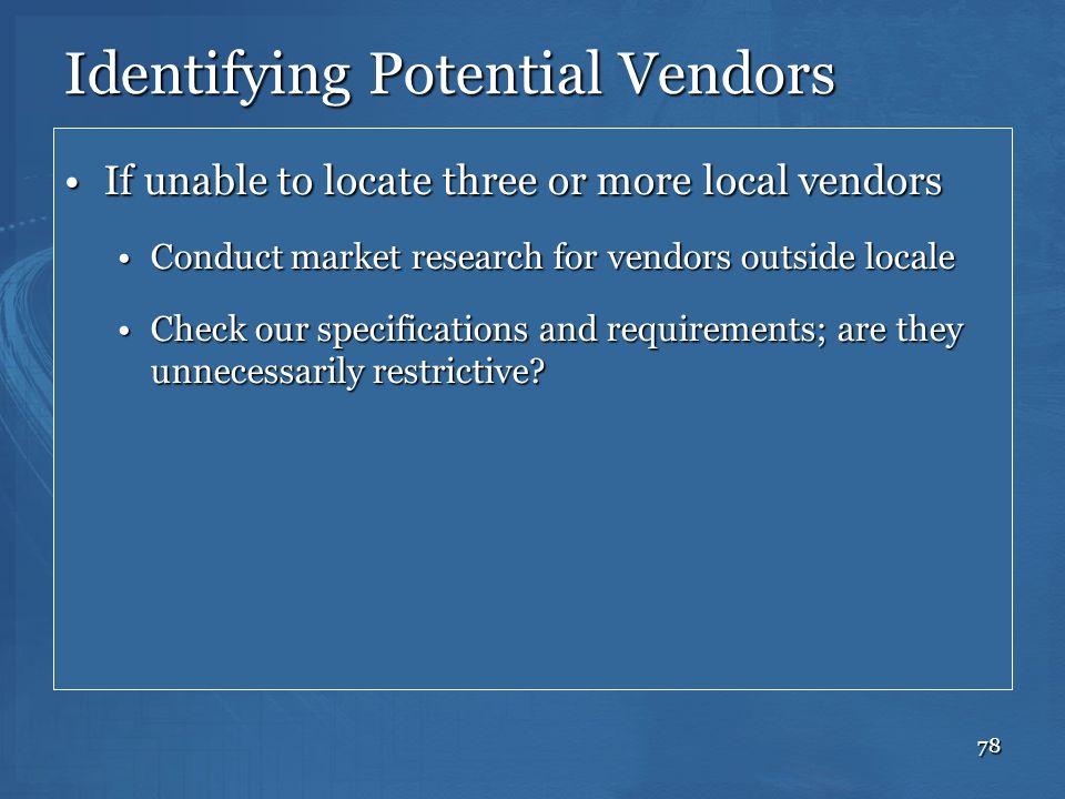 Identifying Potential Vendors
