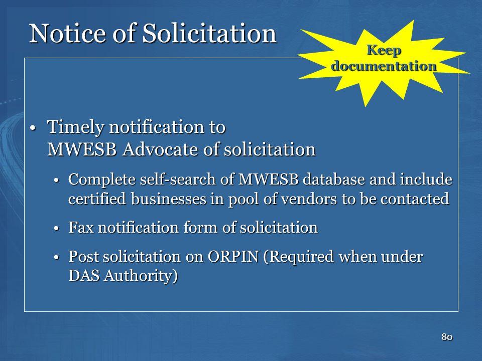 Notice of Solicitation