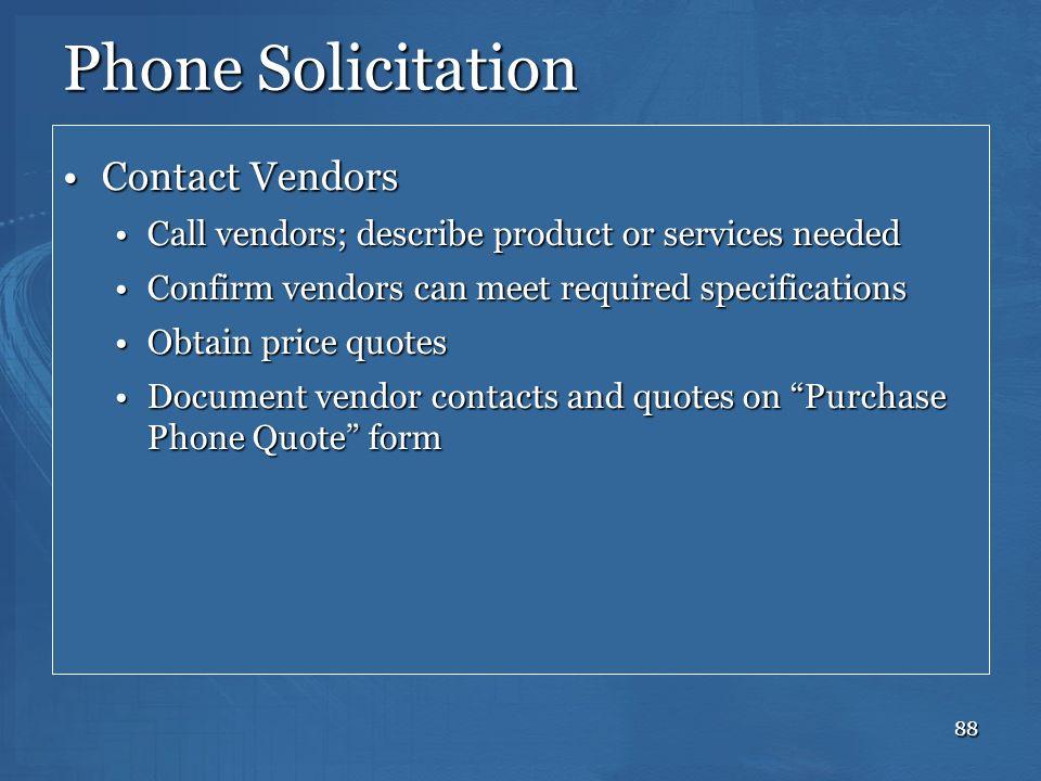 Phone Solicitation Contact Vendors