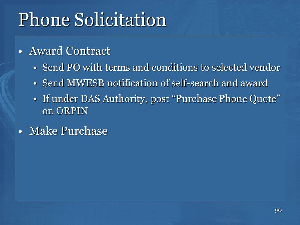Phone Solicitation Award Contract Make Purchase