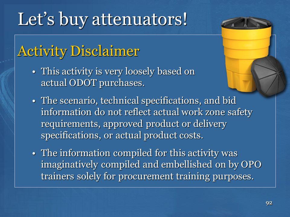 Let's buy attenuators! Activity Disclaimer