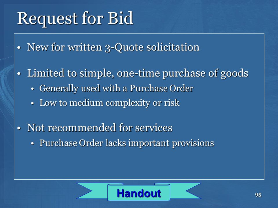 Request for Bid New for written 3-Quote solicitation