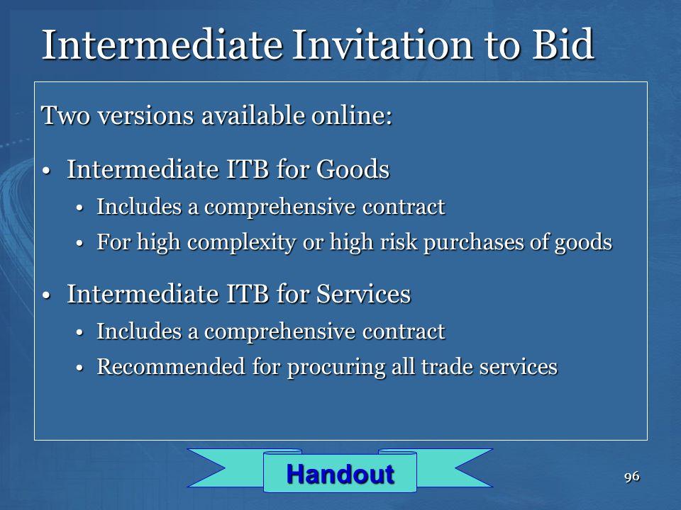 Intermediate Invitation to Bid
