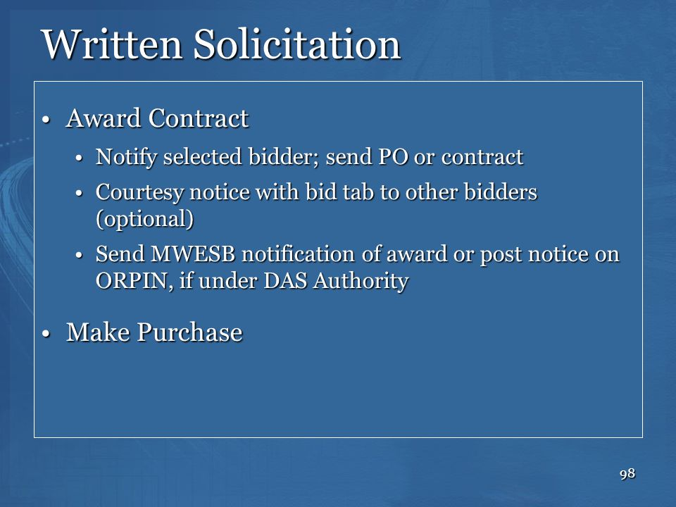 Written Solicitation Award Contract Make Purchase