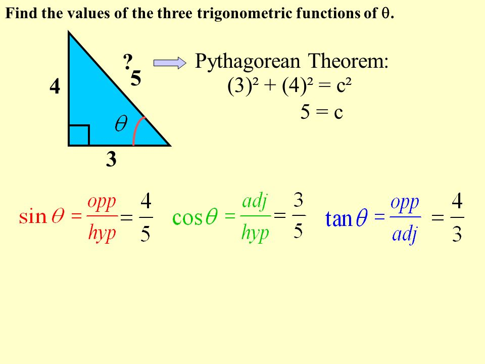 Pythagorean Theorem: (3)² + (4)² = c² 5 = c