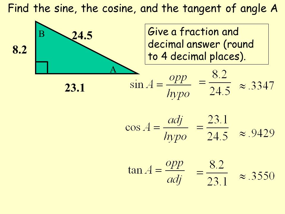 Find the sine, the cosine, and the tangent of angle A