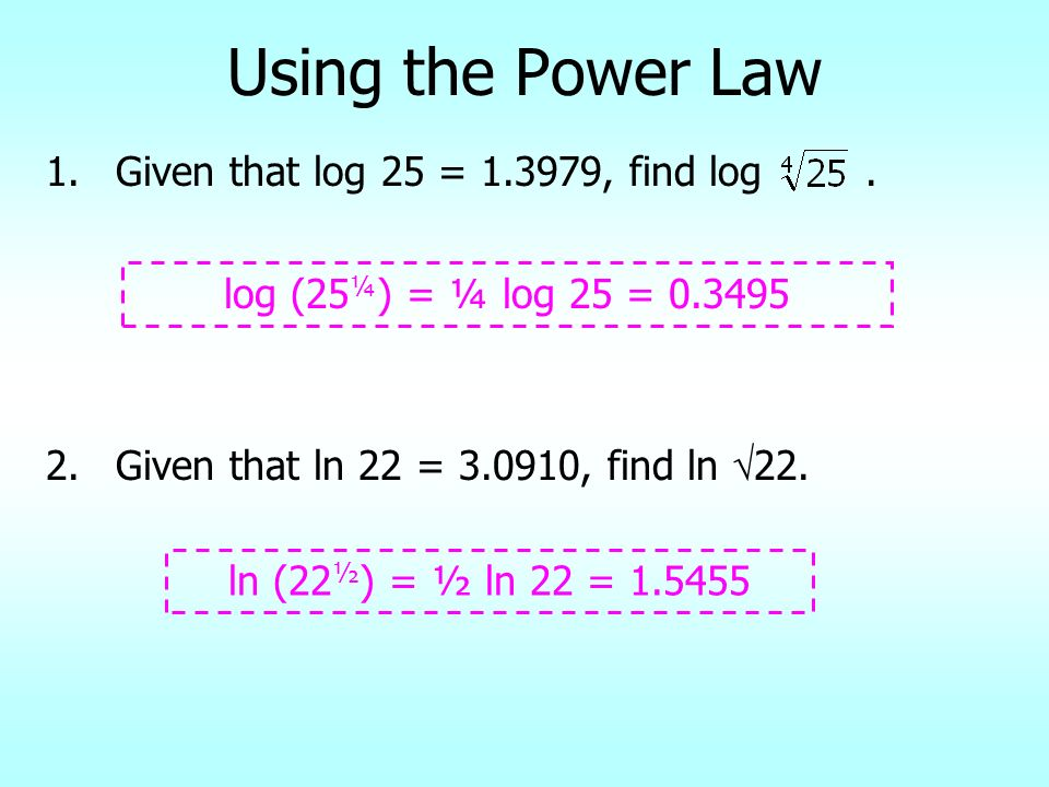 Using the Power Law Given that log 25 = 1.3979, find log .