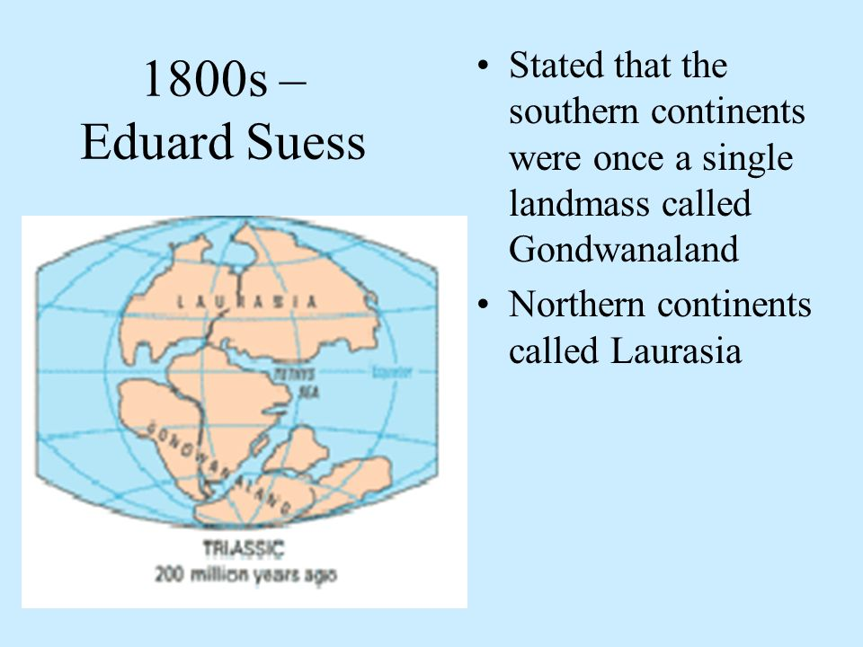 1800s – Eduard Suess Stated that the southern continents were once a single landmass called Gondwanaland.