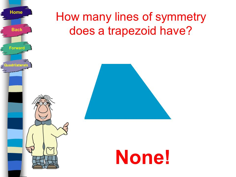How many lines of symmetry does a trapezoid have