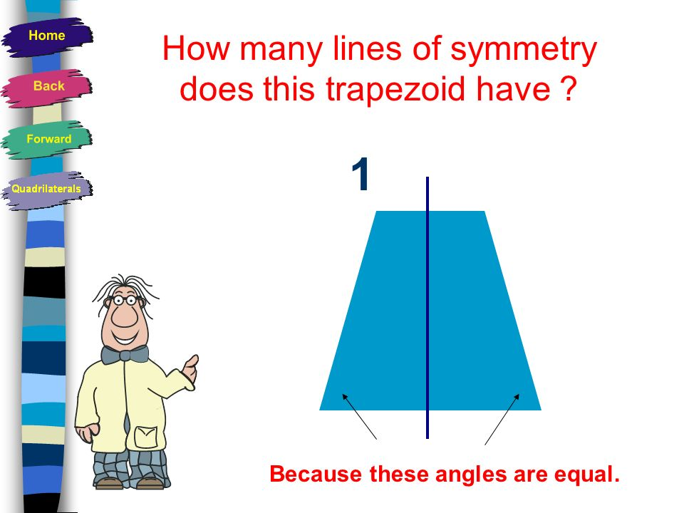 How many lines of symmetry does this trapezoid have
