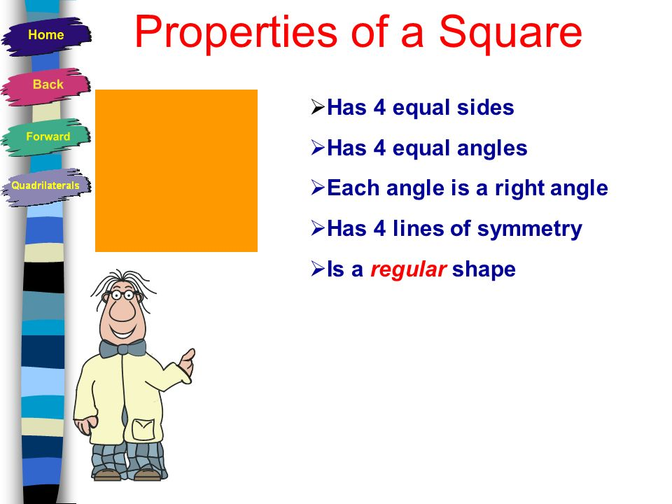 Properties of a Square Has 4 equal sides Has 4 equal angles
