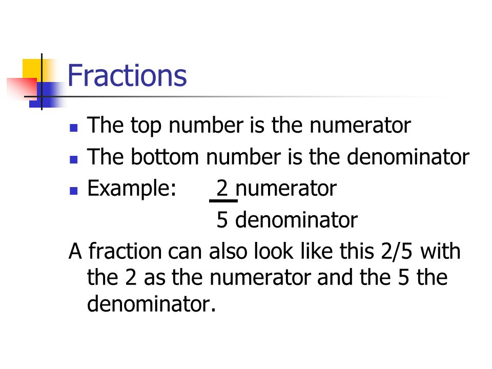 Fractions The top number is the numerator