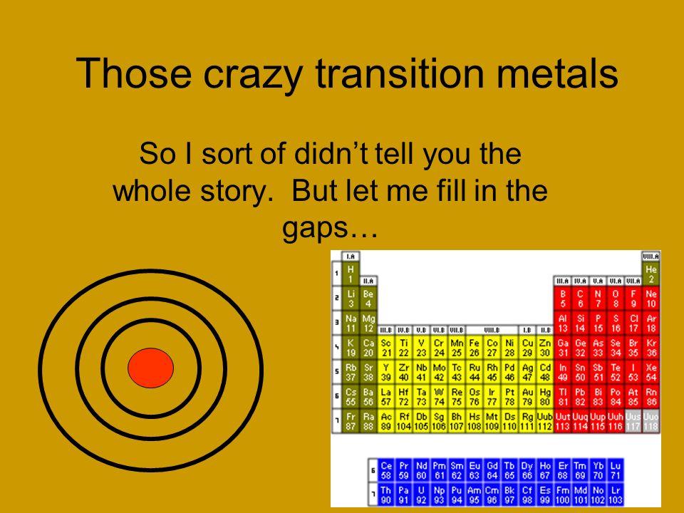 Those crazy transition metals