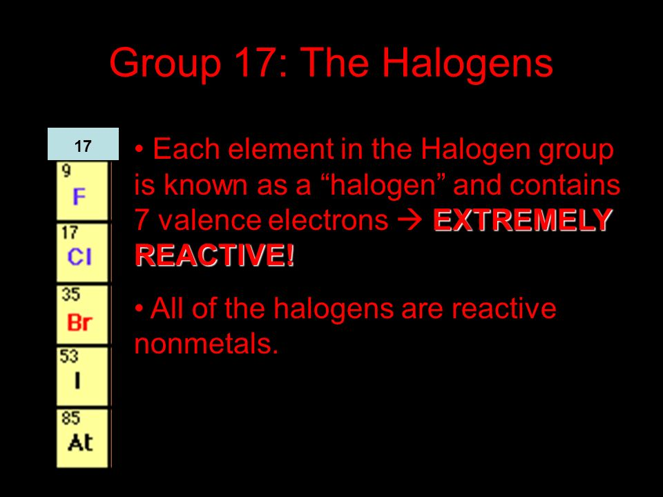 Group 17: The Halogens Each element in the Halogen group is known as a halogen and contains 7 valence electrons  EXTREMELY REACTIVE!