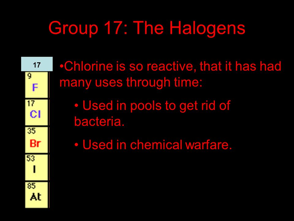 Group 17: The Halogens Chlorine is so reactive, that it has had many uses through time: Used in pools to get rid of bacteria.