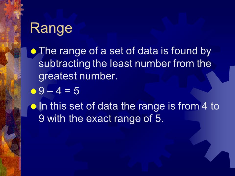 Range The range of a set of data is found by subtracting the least number from the greatest number.