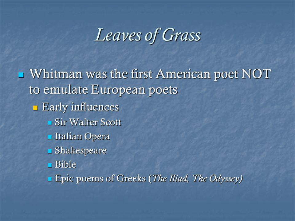 an analysis of the poetry of walt whitman an american poet Whitman, addressing poets of the future, declares that this great new brood  should awake and justify him  walt whitman share  summary and  analysis: inscriptions poets to come  previous i hear america singing .
