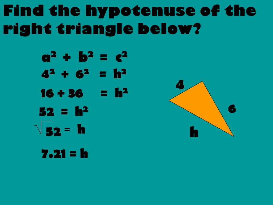 Find the hypotenuse of the right triangle below