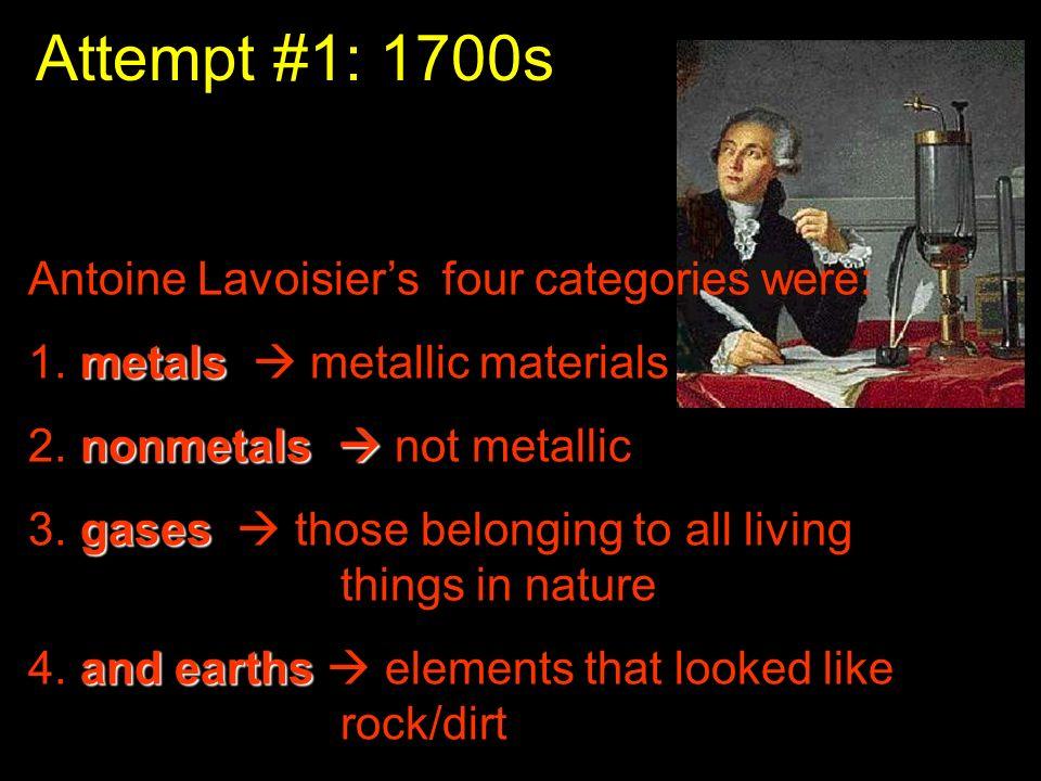 Attempt #1: 1700s Antoine Lavoisier's four categories were: