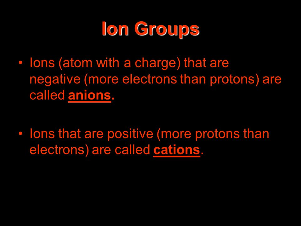Ion Groups Ions (atom with a charge) that are negative (more electrons than protons) are called anions.