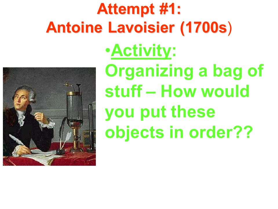 Attempt #1: Antoine Lavoisier (1700s)
