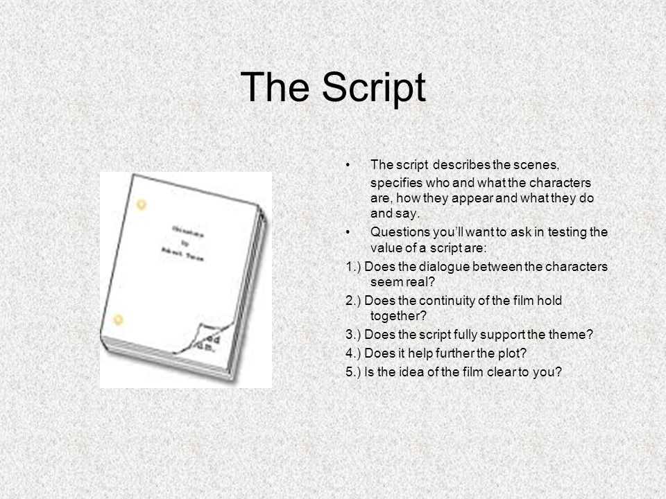 The Script The script describes the scenes, specifies who and what the characters are, how they appear and what they do and say.