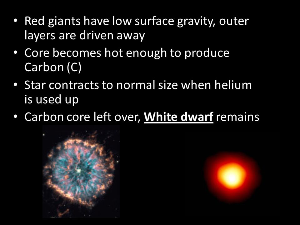 Red giants have low surface gravity, outer layers are driven away