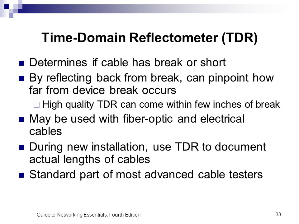 Time Domain Reflectometer : Chapter solving network problems ppt video online