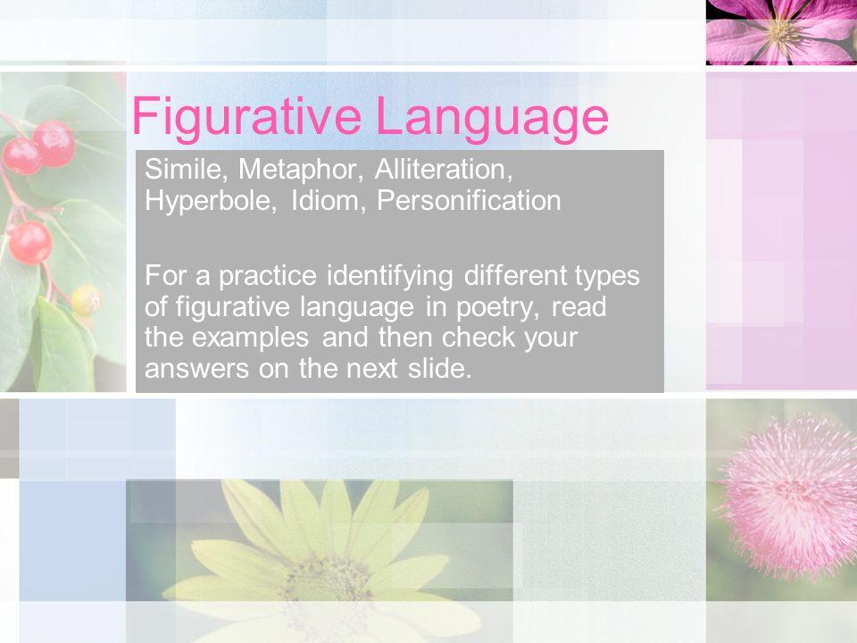 Figurative Language Simile, Metaphor, Alliteration, Hyperbole, Idiom, Personification.