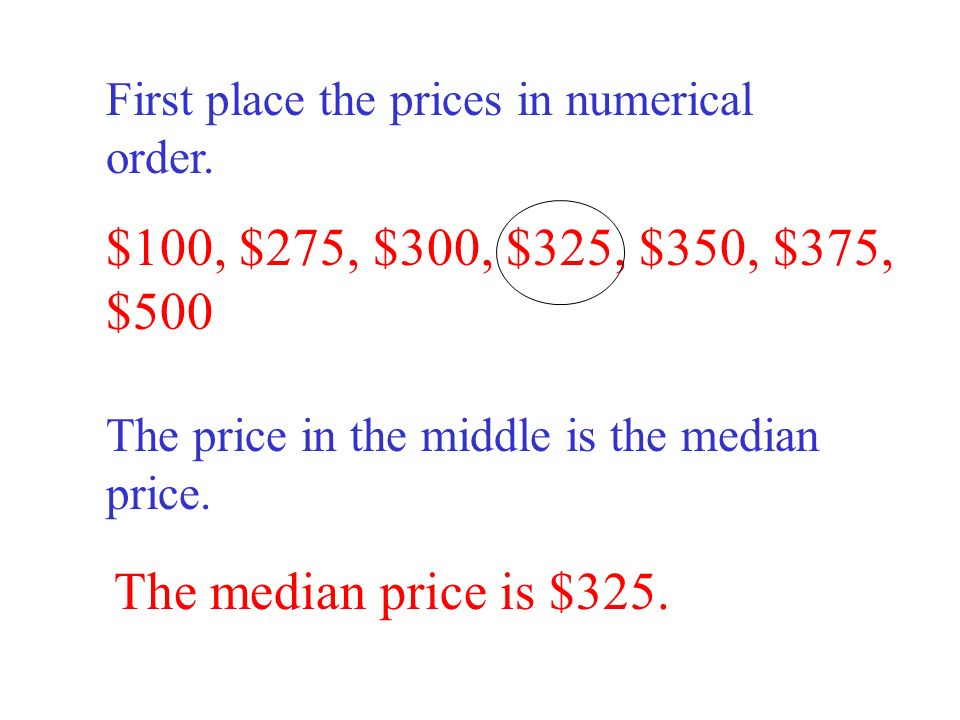 $100, $275, $300, $325, $350, $375, $500 The median price is $325.