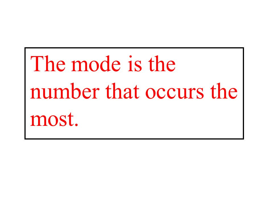 The mode is the number that occurs the most.