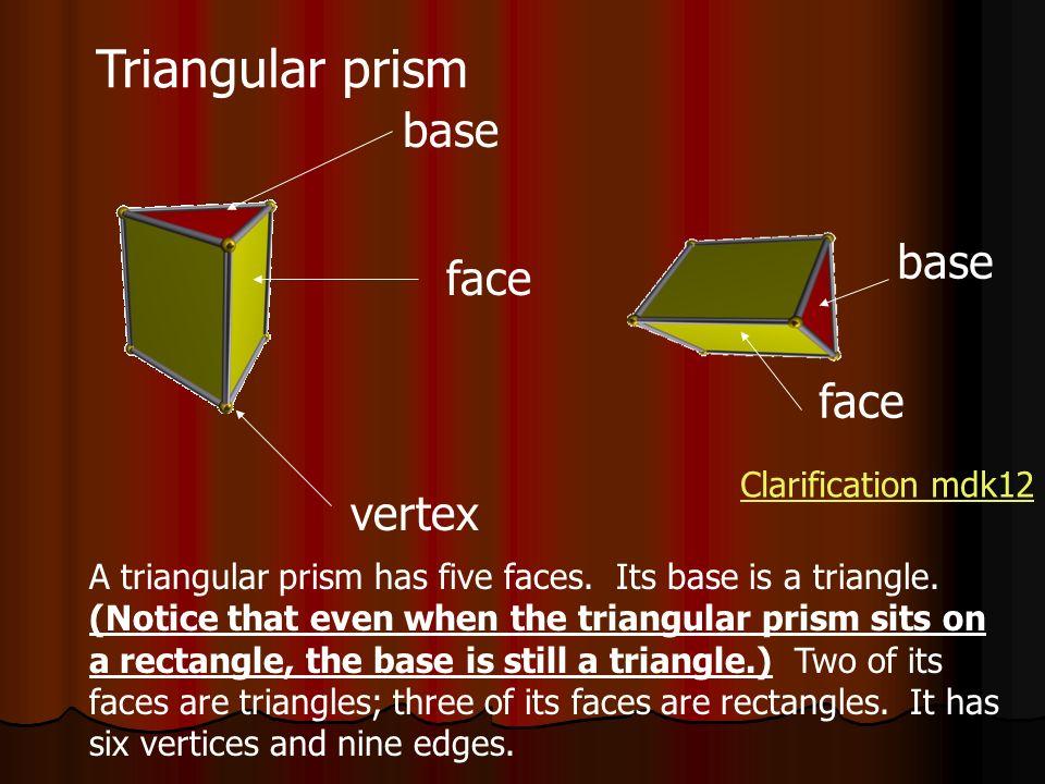 Triangular prism base base face face vertex Clarification mdk12