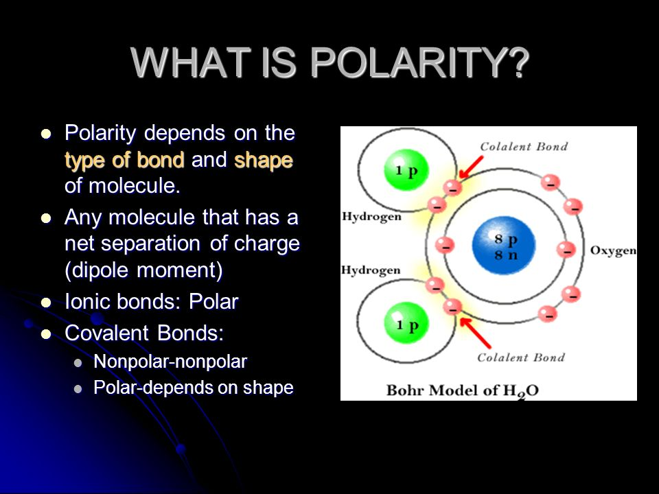 WHAT IS POLARITY Polarity depends on the type of bond and shape of molecule. Any molecule that has a net separation of charge (dipole moment)