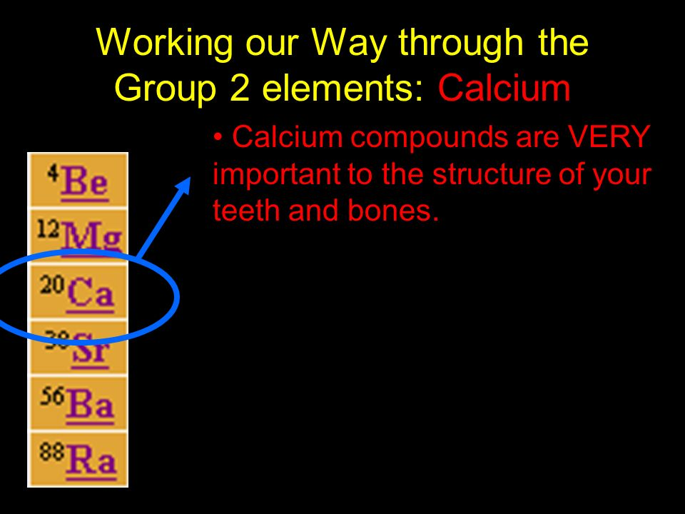 Working our Way through the Group 2 elements: Calcium