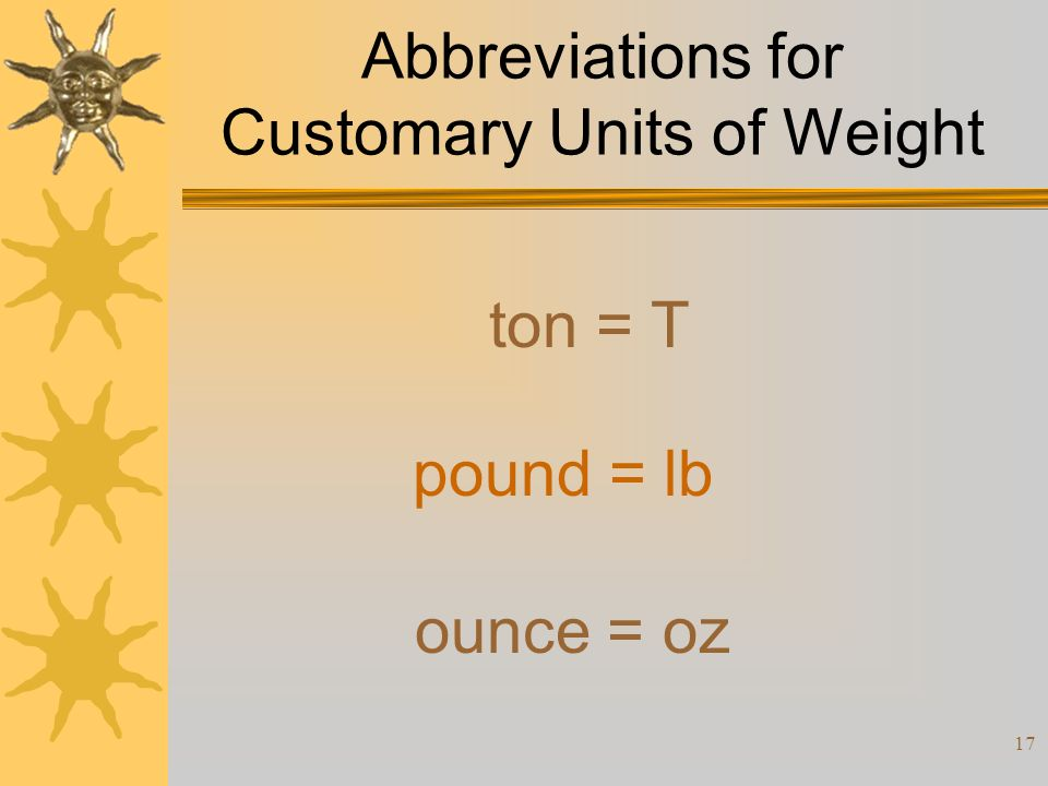 Abbreviations for Customary Units of Weight