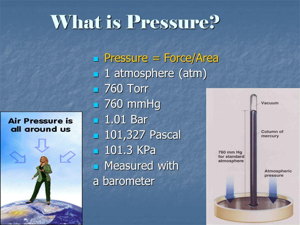 What is Pressure Pressure = Force/Area 1 atmosphere (atm) 760 Torr