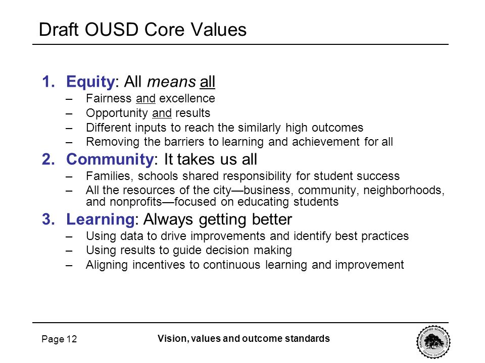 Draft OUSD Core Values Equity: All means all