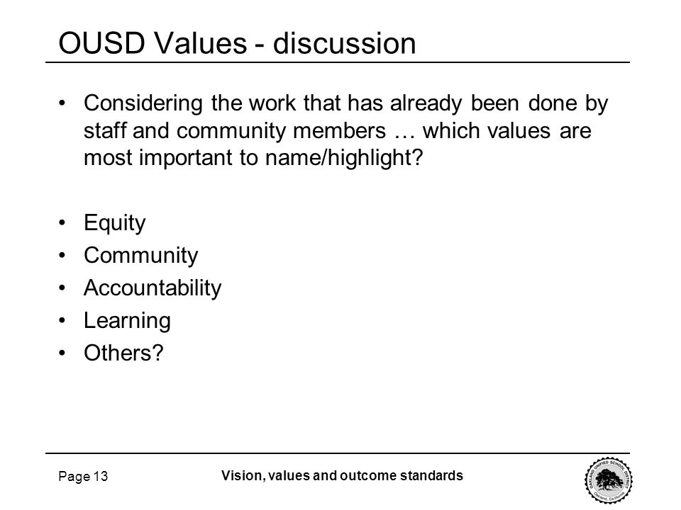 OUSD Values - discussion