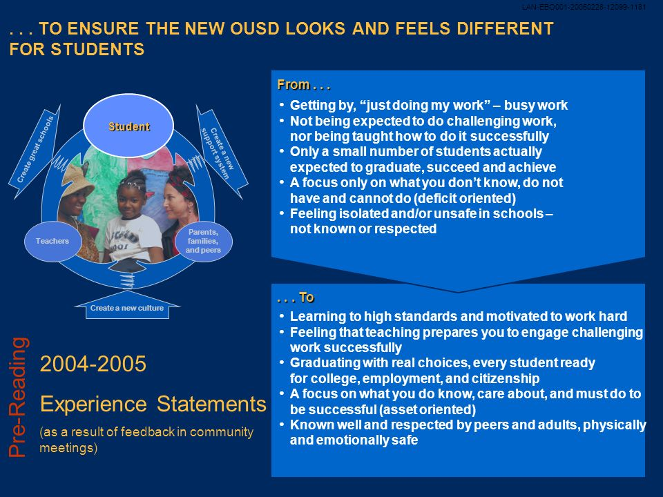 . . . TO ENSURE THE NEW OUSD LOOKS AND FEELS DIFFERENT FOR STUDENTS