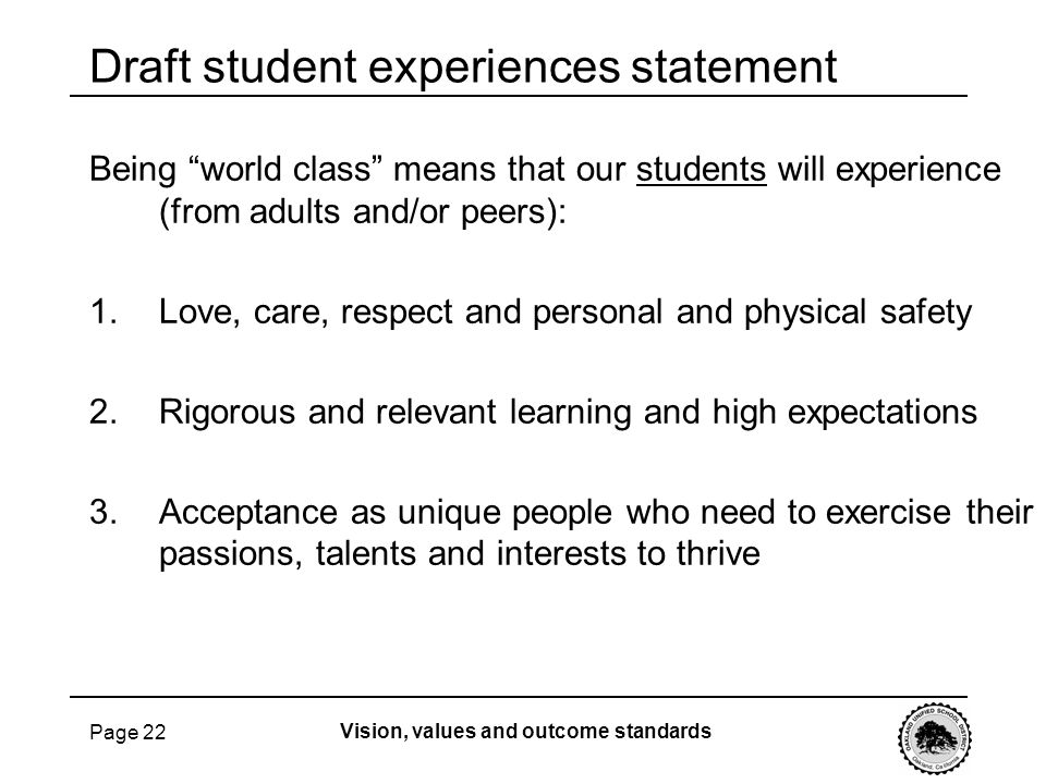 Draft student experiences statement
