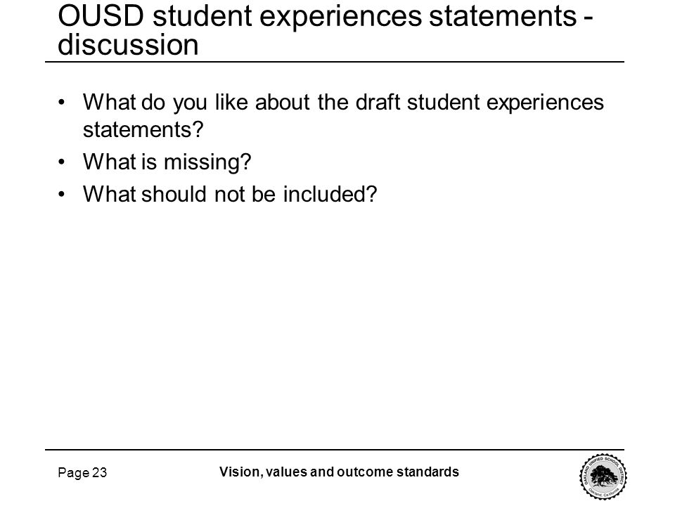 OUSD student experiences statements - discussion